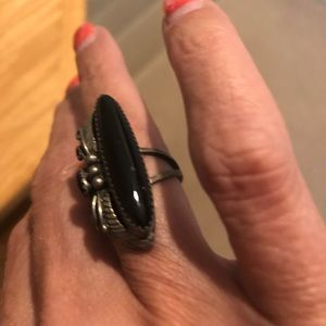 Authentic silver and black onyx ring